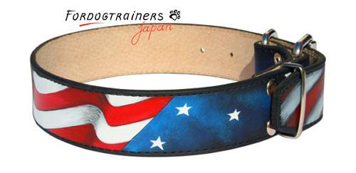 絵で装飾された犬用本革首輪